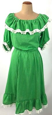 Vintage GREEN tiny white polka dots spotty RUFFLE broderie lace trim DRESS 18 20