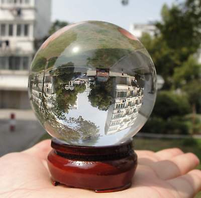 Clear Glass Crystal Ball Healing Sphere Photography Props Lensball Decor Gift+sd