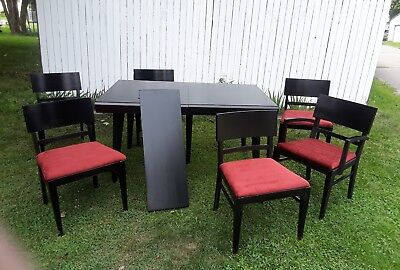 "Vintage Mid Century Thomasville Oak Dining Table & 6 Chairs 12"" Leaf"