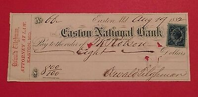 Oswald Tilghman Texas Confederate Easton National Bank old check Maryland MD