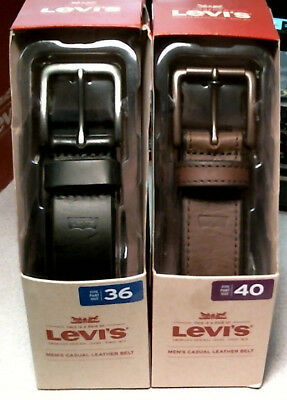 Levi's Mens Casual Leather Belt, Brown / Black, 36, 38, 40, New in Package