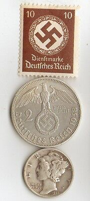 -*WWII -   SILVER   *US  and  *german  coins / stamp+..