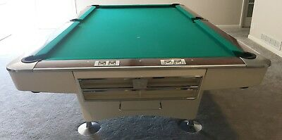 BRUNSWICK GOLD CROWN II Refinished White Foot Pool Table - Brunswick 9 foot pool table