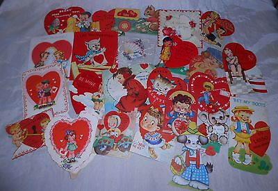 "VALENTINE CARDS ""USED"" VINTAGE 1940's, RANDOM LOT OF 24, GOOD COLOR & GRAPHICS!"