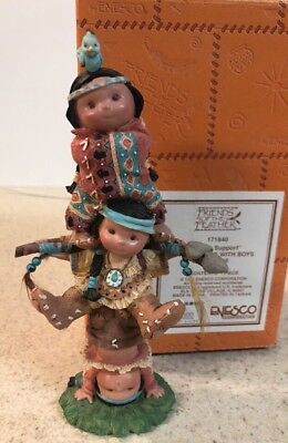 Rare Enesco Friends of the Feather Brave Support Indian Boy Totem Pole   MIB