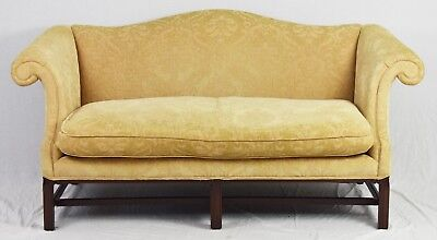 Hickory Chair Chippendale Sofa Mahogany Frame Damask Fabric Williamsburg Style