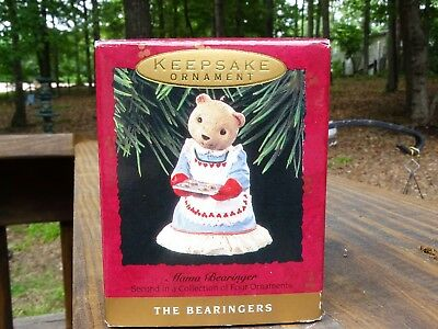 Rare New 1993 Hallmark Mama Bearinger In Dress Christmas Ornament - Gorgeous Wow