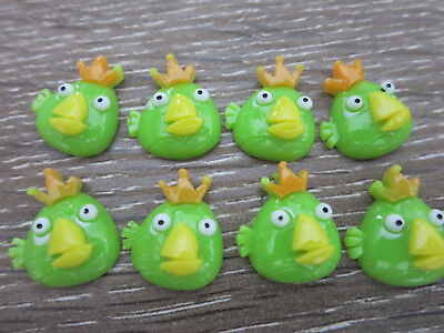 8 ANGRY BIRDS Flatbacks Green Cabochons LOCATED IN AUSTRALIA A27