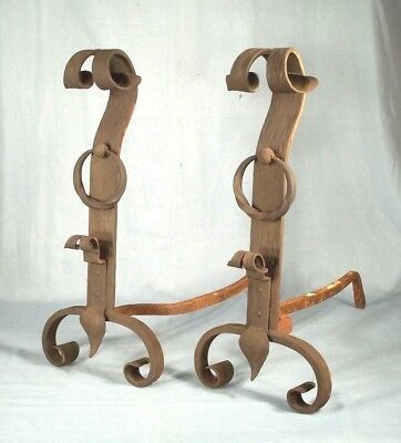 ANTIQUE PAIR OF EARLY 20th CENTURY ARTS+CRAFTS WROUGHT IRON ANDIRONS