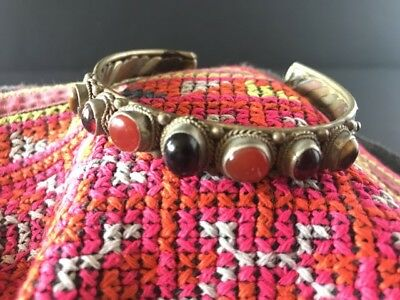 Old Tibetan Bracelet from Local Silver, Copper & Brass with Local Gem Stones