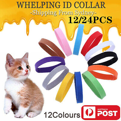 UP 24x Whelping ID Collar Bands Pet Puppy Dog Kitten Identification Collar Tags