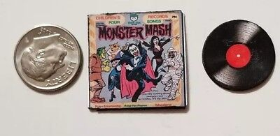 "Dollhouse Miniature Record Album 1"" 1/12 Halloween Monster Mash Music"