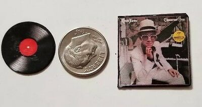 "Dollhouse Miniature Record Album 1"" 1/12 scale Elton John pop music 80's"