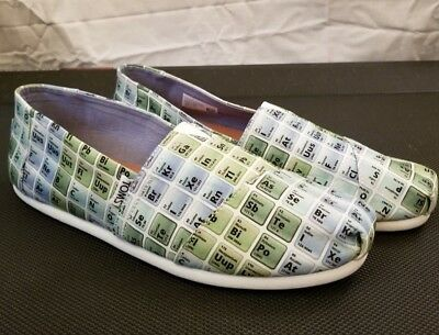 Toms Alpargata Green Blue Periodic Letters Script Slip On Shoes Mens