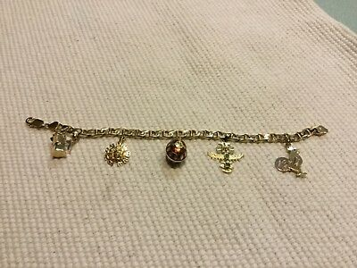 73731287b Vintage 14k yellow gold lady's charm bracelet anchor chain lobster clasp 5  charm
