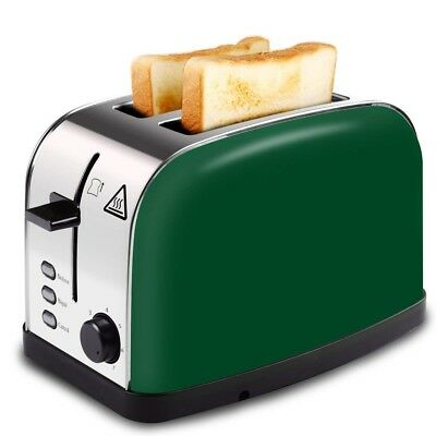 Long Slot Toaster Bagel Bread  Buns 2 Slice Wide Brushed Stainless Steel Green