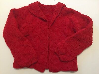Vintage Girls Hand-Crocheted Red Cardigan Wool Sweater 1960s ***FREE SHIPPING***
