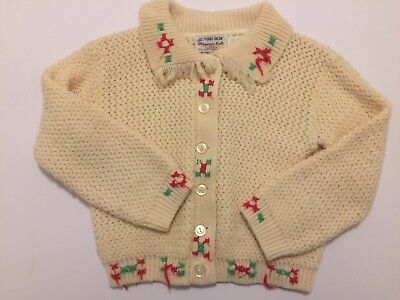 "Vintage Baby Girls ""100% TURBO ORLON"" Cream Sweater with Red & Green 1950s"