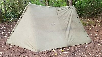 Vintage 1942 US Military WWII Canvas Pup Tent Shelter Half (8u0027 x 4.5u0027 & VINTAGE 1942 US Military WWII Canvas Pup Tent Shelter Half (8u0027 x 4.5 ...