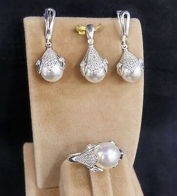 AAA Quality 925 Sterling Silver Jewelry Akoya White Pearl Lady Full Set
