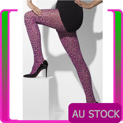 Womens Purple  Leopard Print Tights Pantyhose Stockings Purple Panther Costume