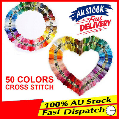 DIY Line Embroidery Egyptian Cross Stitch Cotton Thread Floss Bulk 50 Colourful