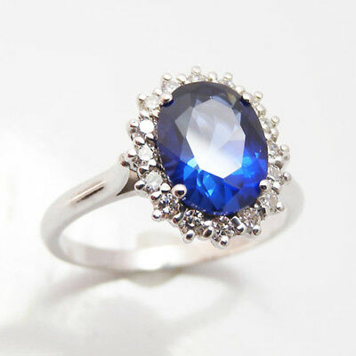 Blue Sapphire 3.48Ct Oval Cut Gemstone Diamond Natural 14K Solid White Gold Ring