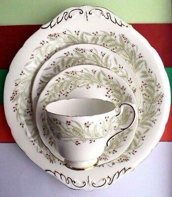 "Vintage Royal Standard Bone China ""Whispering Grass"" Tea Set Trio & Cake Plate"