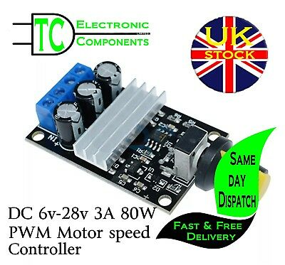 PWM DC 6V-28V 3A 80W Motor Speed Controller  **UK SELLER** Free P&P