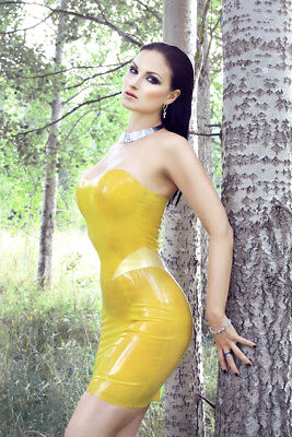 HMS Latex Kleid Größe S Tube Dress Gelb Yellow Damen Fashion Dominatrix Club