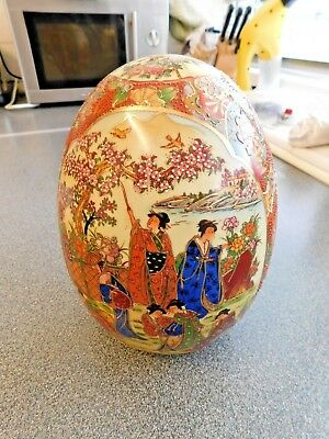 Oriental Decorated Pottery Egg - Larger Than Ostrich Egg - Beautiful