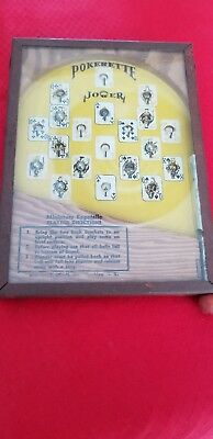 "Vintage Miniature Pinball Game Bagatelle Pokerette Little Table Top 7""×5"" N.y."