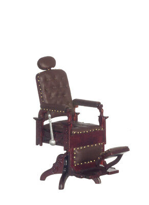 DOLLHOUSE MINIATURE Victorian Barber / Dentist Chair - Mahogany Platinum Series