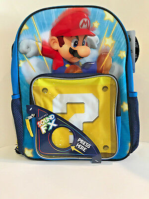 "Nintendo Super Mario 16"" Large Backpack with SOUND Free Shipping"
