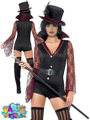 Ladies Fever Vampire Costume Adult Sexy Victorian Halloween Fancy Dress Outfit