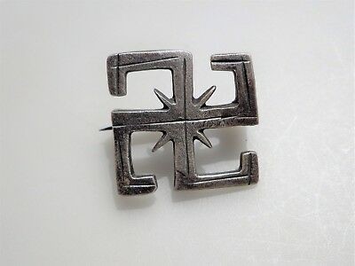 Ancient Roman Silver Swastika Brooch / Fibula - 26x27 mm.2nd – 3rd century A.D.