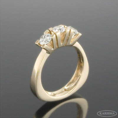 Si2 Diamond Triple Ring Womens Authentic Colorless Estate Round 18K Yellow Gold
