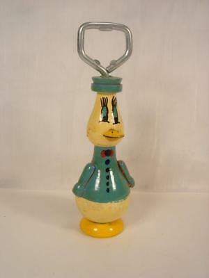 Vintage Disney Donald Duck Turned Wood Hand Painted Bottle Opener Figurine