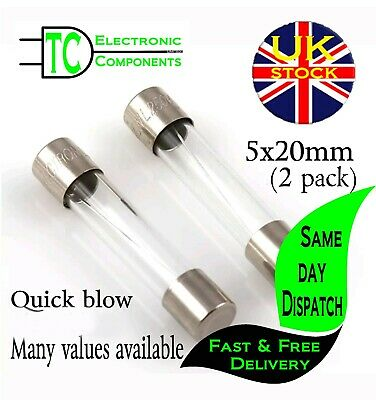 Quick/Fast Blow Fuses 5x20mm Twin pack  Many values available  **UK SELLER**