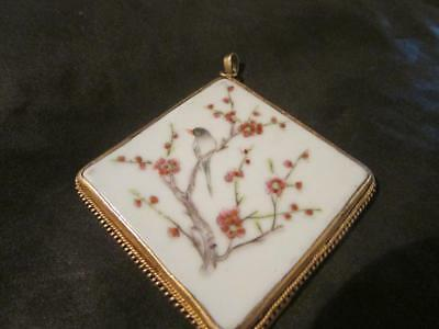 Beautiful Rare Antique Chinese Bird & Blossom Hand Painted Porcelain Pendant