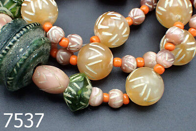 Ancient Etched Carnelian Agate Green Glass Coral Bead MidEast Strand #7537