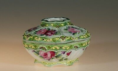 Nippon Handpainted Green Moriage with Pink Roses Hair Receiver, Japan c. 1910