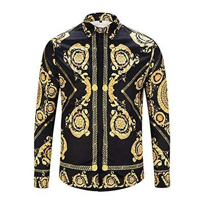 By Neki Mens Print Baroque Vintage Look Shirt Badge Dress Sexy Black Gold Chain