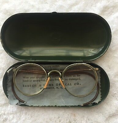 0ed1bbe755d Vintage Bausch   Lomb Aviation Machinist Safety Magnified Bifocal Eyeglasses