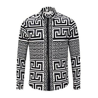 By Neki Mens Print Baroque Vintage Look Shirt Geometric Dress Sexy Black White