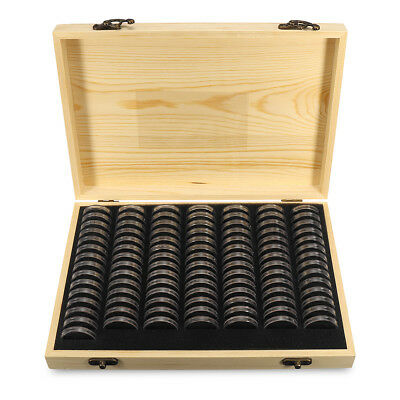 UK Wooden Coins Display Storage Box Case+100/50/30X Round Slab Certified Capsule