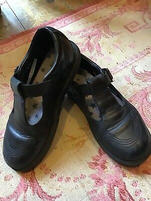 VERY NICE CONDITION CLARKS 'Penny So JNR' 13 F Black Leather T-Bar School Shoes