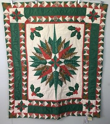 Tucker Lane Christmas Star Hand Quilted Patchwork Throw Wallhanging 50 x 60