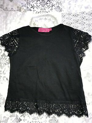 Boohoo black lace sleeve crop top size 10 fits 8