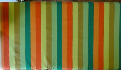 "VINTAGE ORANGE & GREEN STRIPED COTTON FABRIC - 48"" x 38"""